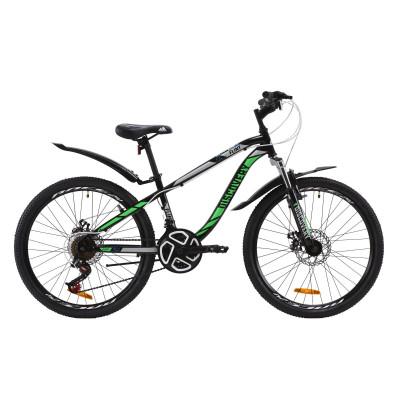 """Велосипед ST 24"""" Discovery FLINT AM DD з крилом Pl 2020 (чорно-зелений)"""
