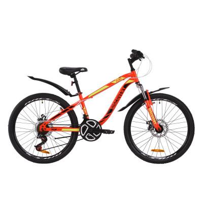 """Велосипед ST 24"""" Discovery FLINT AM DD з крилом Pl 2020 (червоно-чорний з салатовим)"""