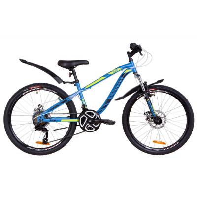 """Велосипед 24"""" Discovery FLINT AM 14G DD St з крилом Pl 2019 (синій з зеленим)"""