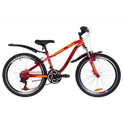 """Велосипед 24"""" Discovery FLINT AM 14G Vbr St з крилом Pl 2019 (червоно-помаранчевий)"""