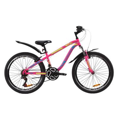 """Велосипед ST 24"""" Discovery FLINT AM Vbr з крилом Pl 2020 (малиново-блакитний з жовтим)"""