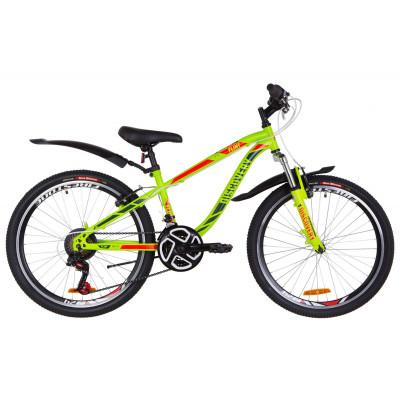 """Велосипед 24"""" Discovery FLINT AM 14G Vbr St з крилом Pl 2019 (зелено-червоний)"""