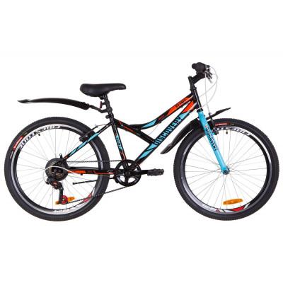 """Велосипед 24"""" Discovery FLINT 14G Vbr St з крилом Pl 2019 (чорно-синій з помаранчевим)"""
