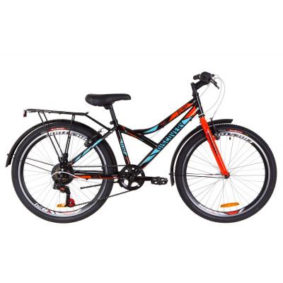 """Велосипед 24"""" Discovery FLINT MC 14G Vbr St с багажником зад St, с крылом St 2019 (черно-синий с оранжевым)"""