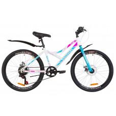 """Велосипед 24"""" Discovery FLINT 14G DD St з крилом Pl 2019 (біло-блакитний з рожевим)"""