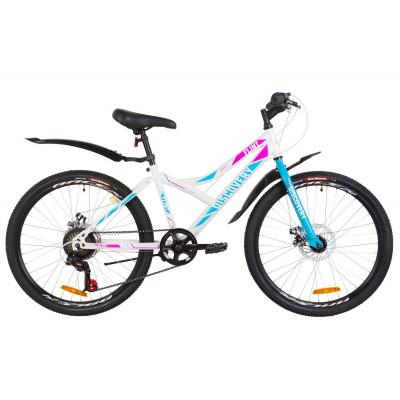 """Велосипед 24"""" Discovery FLINT 14G DD St с крылом Pl 2019 (бело-голубой с розовым)"""