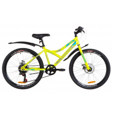 """Велосипед 24"""" Discovery FLINT 14G DD St з крилом Pl 2019 (салатово-синій з сірим)"""