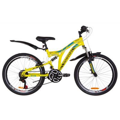 "Велосипед 24"" Discovery ROCKET AM2 14G Vbr St с крылом Pl 2019 (желтый)"