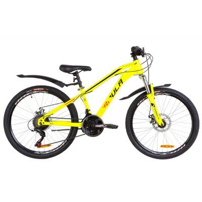 """Велосипед 24"""" Formula DAKAR AM 14G DD St с крылом Pl 2019 (желтый)"""