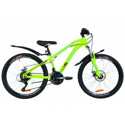 """Велосипед 24"""" Formula DAKAR AM 14G DD St з крилом Pl 2019 (салатово-синій)"""