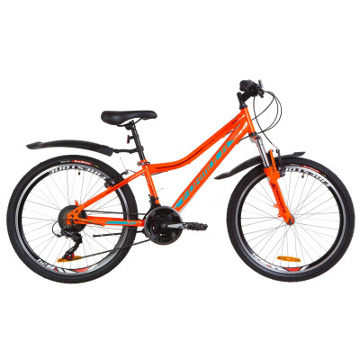 """Велосипед 24"""" Formula FOREST AM 14G Vbr St с крылом Pl 2019 (оранжево-бирюзовый)"""