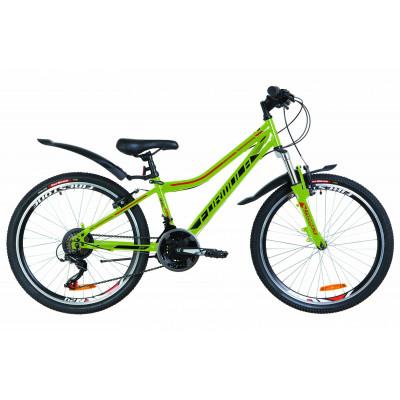 "Велосипед 24"" Formula FOREST AM 14G Vbr St з крилом Pl 2019 (зелений з помаранчевим)"