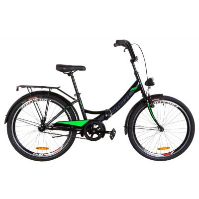 """Велосипед 24"""" Formula SMART 14G тормозная St с багажником зад St, с крылом St, с фонарём 2021 (черно-салатный)"""