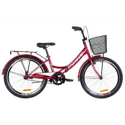 "Велосипед 24"" Formula SMART 14G гальмівна St з багажником зад St, з крилом St, з кошиком St (червоний)"