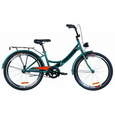 """Велосипед 24"""" Formula SMART 14G гальмівна St з багажником зад St, з крилом St, з ліхтарем 2019 (синій з помаранчевим)"""