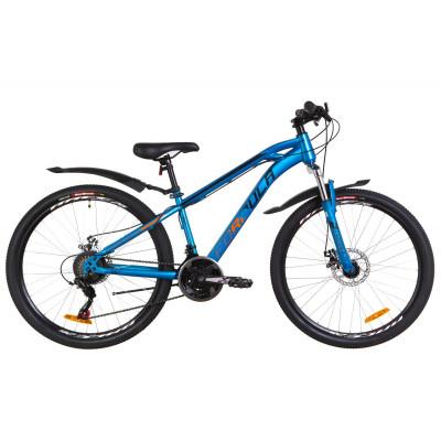 """Велосипед 24"""" Formula DAKAR AM 14G DD St с крылом Pl 2019 (синий с оранжевым)"""